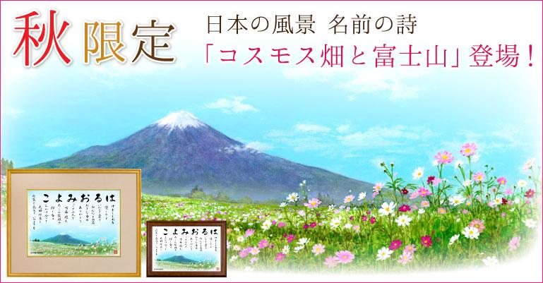 日本の風景・夏季限定「コスモスと富士山」
